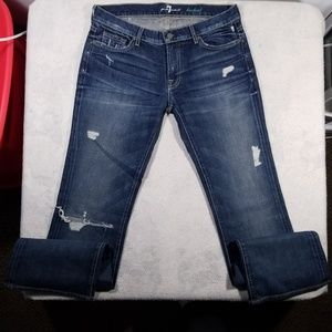 7 For All Mankind Denim Distressed Bootcut Jeans